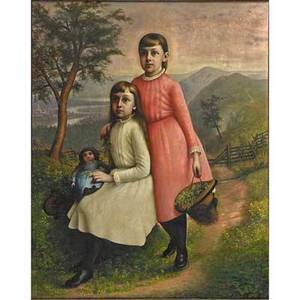 American naive portrait oil on canvas portrait of two young girls late 19th c framed 37 x 29