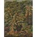 American landscape oil on canvas of gentleman with dog in wooded landscape 19th c framed 44 x 34