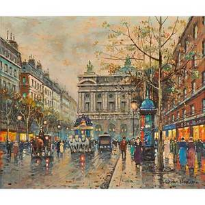 Antoine blanchard french 19101988 oil on canvas parisian street scene with view of opera house signed 20 x 24