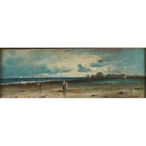 Two european landscapes oil on panel landscapes with figures gilt frames signed illegibly late 19th c 5 x 12 12