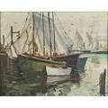 Cesare a ricciardi american 18921973 oil on canvas of docked sailboats framed signed 24 x 30