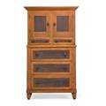 Country cupboard paneled doors over three drawer base painted finish american 19th c 63 12 x 38 x 16 34