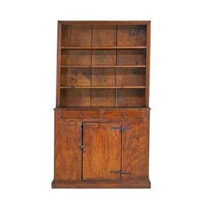 Country stepback cupboard mixed woods open top over cupboard base american 19th c 78 x 45 x 20