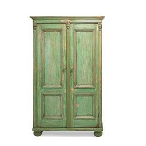 Country cupboard paneled doors with shelf interior button feet 20th c 72 x 42 14 x 21