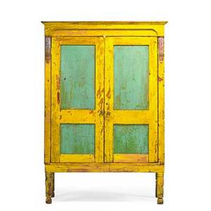 Country cupboard yellow paint with green paneled doors turned legs american 19th c 74 x 50 12 x 18 12