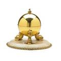 Gilt bronze and marble caviar holder dolphin feet glass liner continental 19th20th c 6 x 8