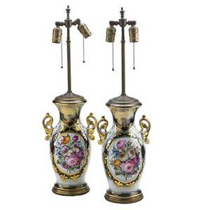 Pair of paris porcelain lamps each with painted floral bouquet and gilt border france late 19th c jars15