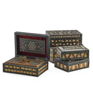 Five quillwork boxes each with a hinged top some with a fitted interior 19th c largest 4 34 x 11 12 x 8 14 provenance estate of a private collector new york