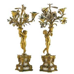 Pair of louis xv style three light candelabra gilt bronze and marble each with infant supporting a bouquet of flowers late 19th c 22