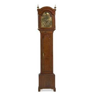 Wm lee leicester tall case clock oak case with line inlay time and strike eight day movement with brass dial england ca 1800 85 x 18 x 9 12