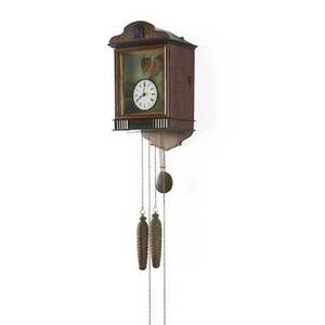 Blinking eye black forest wall cuckoo clock figure of spotted cat with moving eyes two weightdriven movement continental early 20th c 15 12 x 9 12 x 7