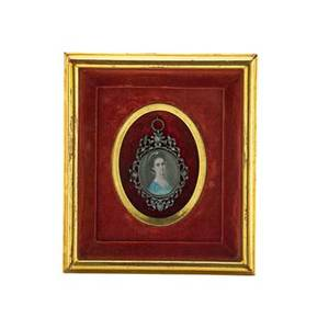 English portrait miniature mounted in shadow box with sterling frame embellished with rose cut diamonds late 18th early 19th c 3 x 2 framed