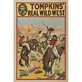 Four tompkins real wild west posters donaldson lithograph company ca 1914 cowboys on bucking horses hanging scene cowgirl on horseback and cowboy roundup each 20 x 30 all pictured onli