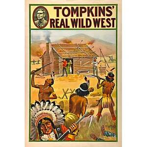 Five tompkins real wild west posters donaldson lithograph company ca 1914 log cabin shoot out stagecoach shoot out native american chiefnative american chief in profile and native americans