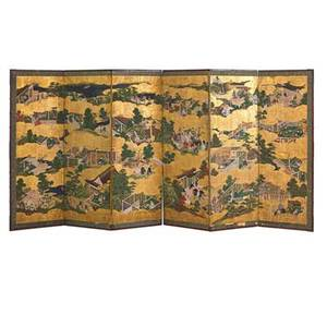 Japanese painted screen landscape decoration six panels 19th c 67 x 147 proceeds benefit the george nakashima foundation for peace new hope pennsylvania