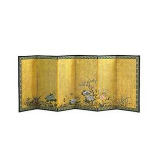 Japanese painted screen floral design six panels early 20th c 42 x 109 provenance the george nakashima foundation for peace new hope pennsylvania proceeds benefit the foundation