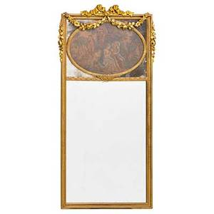 Group of three mirrors sheraton with eglomise panel together with a neoclassical style and a curly maple frame early 20th c largest 40 12 x 20 12 provenance the stokes family collection pr
