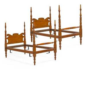 Pair of sheraton canopy beds curly maple scrolled headboard turned posts american ca 1840 84 x 45 12 provenance the stokes family collection princeton