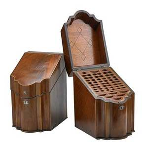 Pair of george iii knife boxes mahogany slanted lids with cross banding england ca 1790 15 x 12 x 10 provenance the stokes family collection princeton