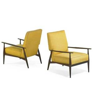 Paul mccobb 1917  1969 calvin pair of lounge chairs grand rapids mi 1950s stained wood upholstery unmarked 33 12 x 25 x 34