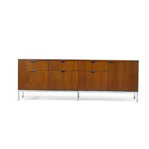 Florence knoll b 1917 cabinet usa 1960s walnut chromed steel unmarked 25 12 x 75 x 18