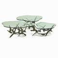 C jere artisan house custom set of three tables los angeles 1970s patinated bronze glass unmarked overall 18 12 x 90 x 80 provenance original owner commissioned from the artist