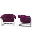 Metropolitan furniture pair of lounge chairs san francisco ca 1970s chromed steel mohair manufacturer label to one 28 12 x 39 x 35 12