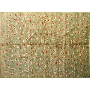 Modern contemporary handknotted wool rug with flowers on light teal ground india 6 x 8 8