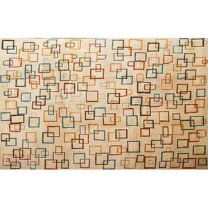 Modern contemporary handknotted wool rug orange and teal squares on cream ground india 9 x 11 10