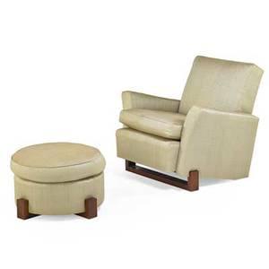 Scott cornelius design studio linda lounge chair and ottoman new york 2000s mesquite wood silk upholstery unmarked chair 35 x 39 x 39 ottoman 16 12 x 27 12 dia