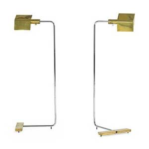 Cedric hartman b 1929 pair of adjustable floor lamps omaha ne 1980s chrome brass acrylic single sockets both signed shortest position 36 x 13 x 11 tallest position 42
