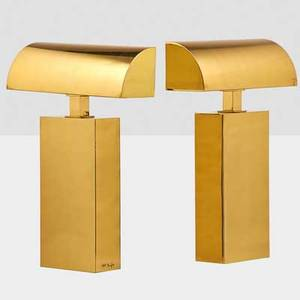 Karl springer 1931  1991 karl springer ltd pair of sculpture table lamps usa 1970s brass two sockets both signed 24 x 16 x 5 12