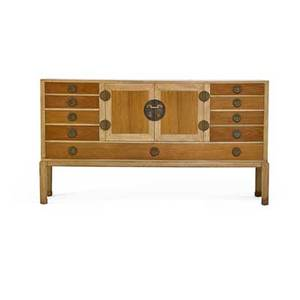Edward wormley 1907  1995 dunbar cabinet berne in 1940s bleached mahogany walnut brass unmarked 38 x 69 12 x 18 12