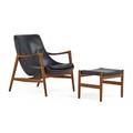 Ib kofodlarsen 1921  2003 christensen  larsen elizabeth lounge chair and ottoman u56 denmark 1960s sculpted teak leather ottoman branded with control label chair 32 x 29 x 30 ott