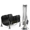 Umbra fuega fourpiece fireplace tool set on stand with log holder italy late 20th century aluminum leather stamped manufacturer mark stand 28 12 x 8 34