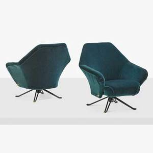 Osvaldo borsani 1911  1985 tecno pair of lounge chairs p32 italy 1950s enameled steel brass mohair manufacturer labels 31 x 33 x 30 provenance wright important design december 15