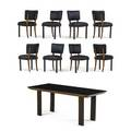 Osvaldo borsani 1911  1985 dining table and eight chairs italy 1930s carved walnut black glass leather unmarked table 30 x 78 12 x 35 12 chairs 33 12 x 20 12 x 21 12 two leav