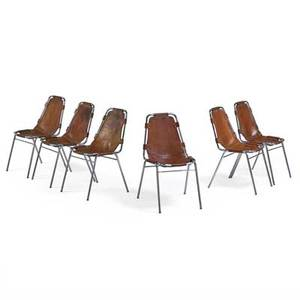 Charlotte perriand 1903  1999 set of six chairs from les arcs ski resort france 1970s chromed steel stitched saddle leather unmarked 32 12 x 20 12 x 24