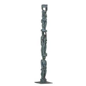Max muller b 1946 verdigrispatinated bronze totem sculpture germany unmarked 66 12 x 11 12