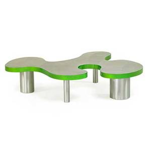 Bert furnari b 1968 curvy table 8 easton pa 2014 patterned and powdercoated aluminum signed and dated 14 x 62 x 48 12 provenance from the artist complete with certificate of authe