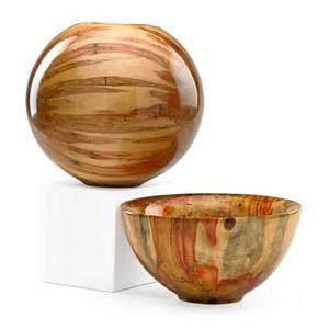 Philip moulthrop b 1947 two turned turned wood vessels ashleaf maple atlanta ga both signed pcm philip moulthrop ashleaf maple acer negundo bowl 728070 vessel numbered 8201 8 12 x 8 1