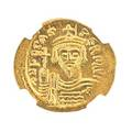 Ancient byzantine gold av solidus coinad 602  610 phocas obverse facing bust reverse angel holding cross ngc ms strike 45 surface 35
