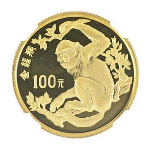 1988 china commemorative proof setendangered wildlife three coin set 100 yuan gold golden monkey ngc pf 69 ultra cameo 10 yuan river dolphin and a 10 yaun crested ibis