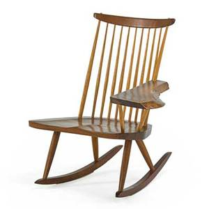 George nakashima 1905  1990 nakashima studios rocking chair with arm new hope pa 1978 walnut hickory signed with clients name 34 x 32 12 x 34 provenance available copy of original i