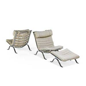 Arne norell 1917  1971 norell pair of ari lounge chairs and ottoman sweden 1960s chromed steel wool leather strapping unmarked chair 31 12 x 26 x 38 ottoman 14 x 26 x 26