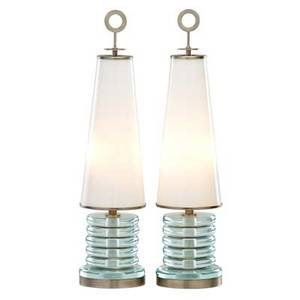 Fontana arte attr pair of table lamps 1950s clear glass milk glass mattechromed steel two sockets unmarked 24 12 x 6 provenance fred silberman nyc