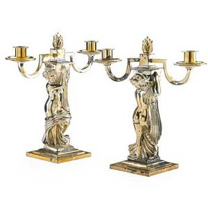 After andre deluol pair of two light candelabra silver plated each with nude female figure raised on a step square base 13 h early 20th c provenance estate of a private collector new york