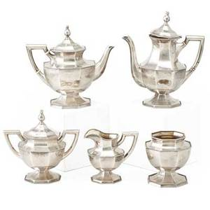 Mauser sterling five piece tea and coffee service teapot coffee pot creamer covered waste bowl open sugar each of octagonal form with beaded rim early 20th c coffee pot 9 14 5487 ot pro