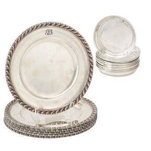 Tiffany  co sterling bread trays and coasters fourteen pieces  six bread trays 9402 ca 19171918 eight wine coasters 21367a after 1907 largest 6 12 dia 578 ot