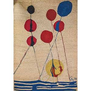 After alexander calder 1898  1976 jute fiber wall hanging balloons nicaragua 1974 embroidered ca 74 cloth label 68 12 x 48